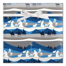 Blue Nativity Jumbo Rolled Gift Wrap