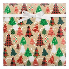 Plaid Trees on Kraft Jumbo Rolled Gift Wrap