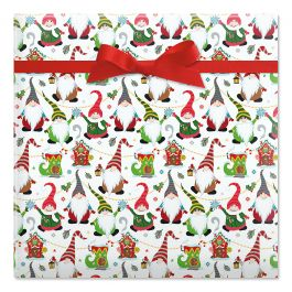 Joyful Gnomes Jumbo Rolled Gift Wrap