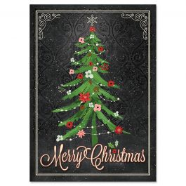 Tree on Black Christmas Cards - Personalized