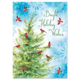 Cardinals on Tree Christmas Cards - Nonpersonalized