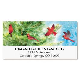 Cardinals on Tree Deluxe Address Labels
