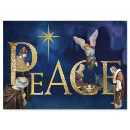 Peace Nativity Deluxe Christmas Cards - Personalized