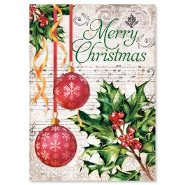 Music & Ornaments Christmas Cards - Personalized