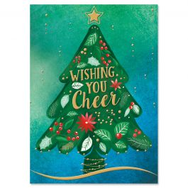 Ornate Tree Deluxe Christmas Cards - Personalized