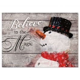 Snowman Believe Christmas Cards - Personalized