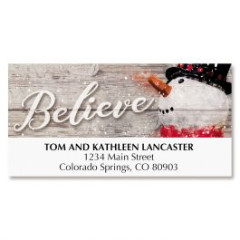 Snowman Believe Deluxe Address Labels