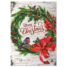 Christmas Wreath on Birch Christmas Cards