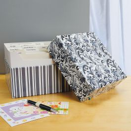 Black Elegance Greeting Card Organizer Box