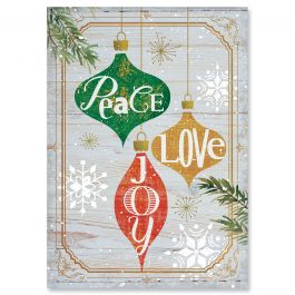 Ornaments on Wood Christmas Cards - Nonpersonalized