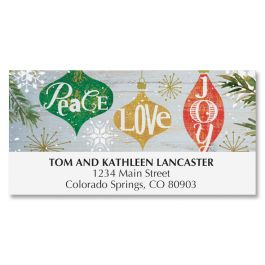 Ornaments on Wood Deluxe Address Labels
