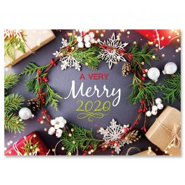 2020 Dated Wreath Christmas Cards - Personalized