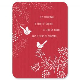 Diecut Winterbirds Faith Christmas Cards - Personalized
