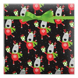 Leaping Deer Jumbo Rolled Gift Wrap