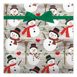 Rustic Plaid Snowman Jumbo Rolled Gift Wrap