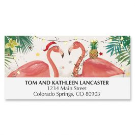 Warmest Wishes Flamingos Deluxe Address Labels
