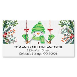 Swinging Snowman Deluxe Address Labels