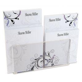 Black & Grey Fantasy Personalized Notepad Set & Acrylic Holder