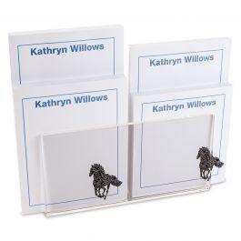 Horse Pattern Personalized Notepad Set & Acrylic Holder
