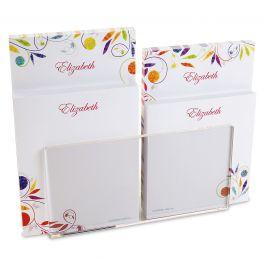Color Swirl Personalized Notepad Set & Acrylic Holder