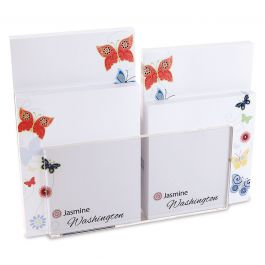 Delicate Butterflies Personalized Notepad Set & Acrylic Holder