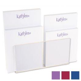 Elegant Personalized Notepad Set & Acrylic Holder