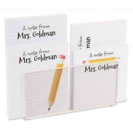 Yellow Pencil Personalized Notepad Set & Acrylic Holder