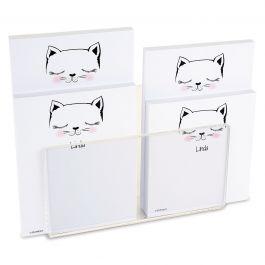 Kitty Ears Personalized Notepad Set & Acrylic Holder