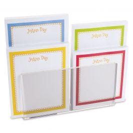 Bright Borders Personalized Notepad Set & Acrylic Holder
