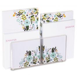 Aubrey Personalized Notepad Set & Acrylic Holder