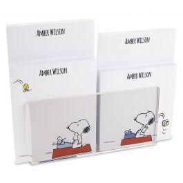 Snoopy's Typewriter Personalized Notepad Set & Acrylic Holder