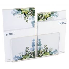 Olive Bloom Personalized Notepad Set & Acrylic Holder