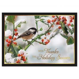 Berries in Snow Deluxe Christmas Cards - Personalized