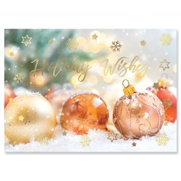 Shiny Ornaments Deluxe Christmas Cards - Personalized