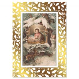 Vintage Nativity Deluxe Christmas Cards - Personalized