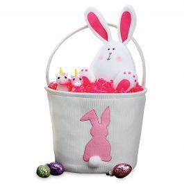 Fabric Bunny Bucket Pink