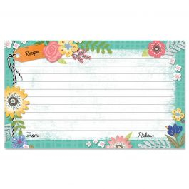 Country Floral Recipe Cards - 3 x 5