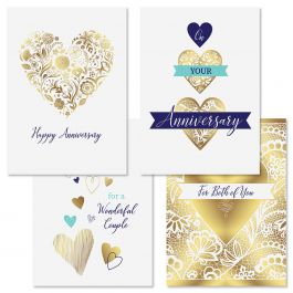 Deluxe Gold Heart Anniversary Cards