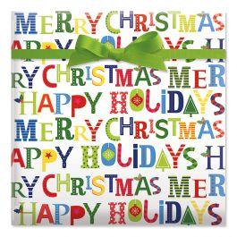 Merry Christmas Jumbo Rolled Gift Wrap