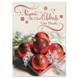 Sparkling Ornaments Christmas Cards - Personalized