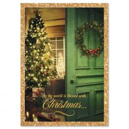 Christmas Door Christmas Cards - Personalized