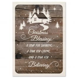 Wishes on Wood Christmas Cards - Personalized