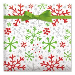 Crackle Snow Red Jumbo Rolled Gift Wrap