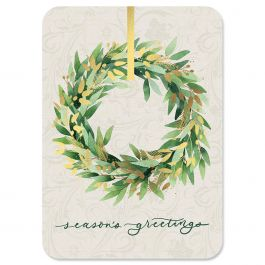 Gold Wreath Deluxe Christmas Cards - Personalized
