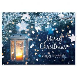 Blue Star Merry Christmas Christmas Cards