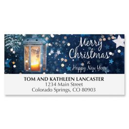 Blue Star Merry Christmas Deluxe Address Labels