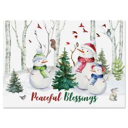 Woodland Snowmen Christmas Cards