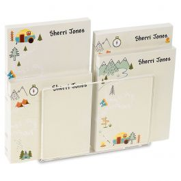 Camping Personalized Notepad Set & Acrylic Holder