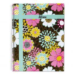 Mocha Flowers Large Notebook