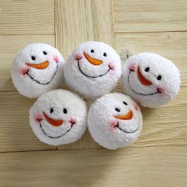 Snowman Face Plush Snow Balls - Set of 10